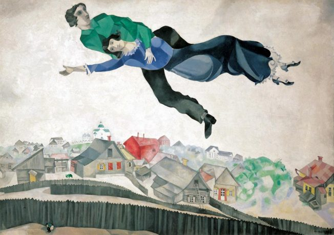 Marc Chagall. Over The Town. Tecnica: Olio su Tela, 45x56 cm