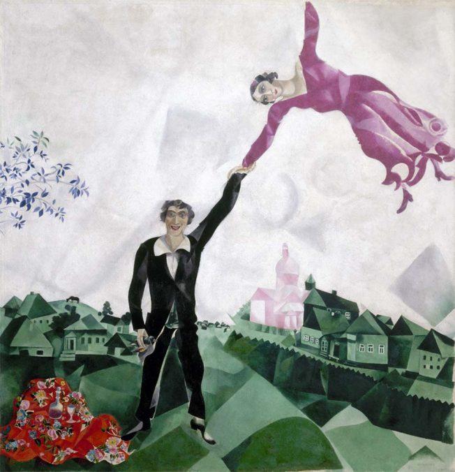 Chagall. La passeggiata, 1917-1918. Tecnica: Olio su tela, 170×163,2 cm. Museo di Stato Russo, San Pietroburgo