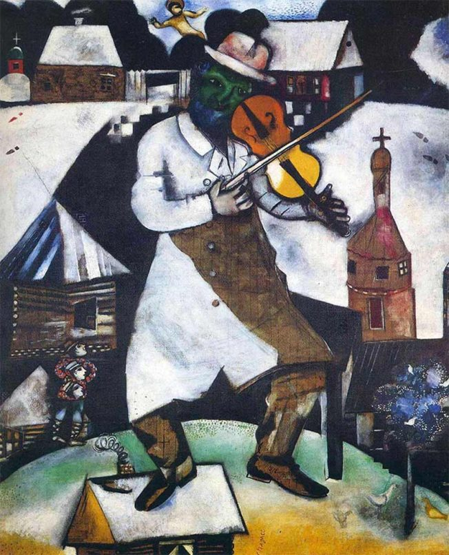 Chagall. Il Violinista, 1912-13. Tecnica: Olio su tela, 94,5×69,5 cm. Stedelijk Museum di Amsterdam