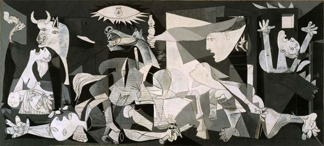Pablo Picasso. Guernica,1937 - Tecnica: Olio su Tela, 349,3 x 776,6 cm. Museo Nacional Reina Sofía, Madrid