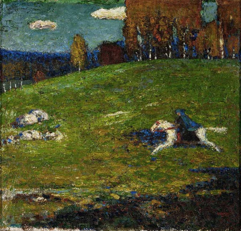 Kandinsky. Il Cavaliere Azzurro (Der Blaue Reiter, 1903). Tecnica: Olio su tela, 55×60 cm. Collezione privata, Zurigo