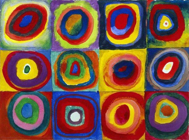 Wassily Kandinsky. Studio dei Colori: Quadrati con Cerchi concentrici, 1913. Tecnica: Acquerello, gouache e pastello su carta. Monaco di Baviera, The Städtische Galerie im Lenbachhaus