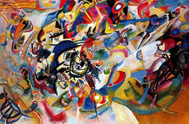 Wassily Kandinsky. Composizione VII, 1913. Tecnica: Olio su tela, 200x300 cm. Galleria Tret'jakov, Mosca