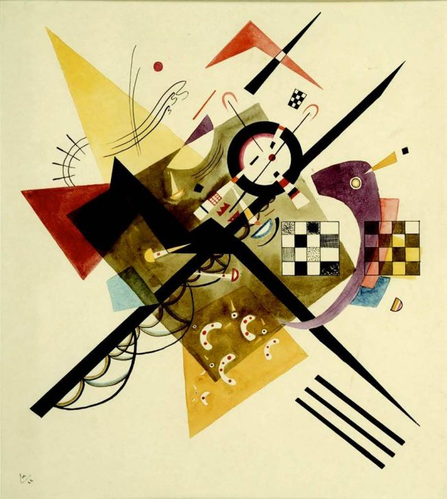 Wassily Kandinsky. Su Bianco II (On White II). Tecnica: Olio su tela, 105 × 98 cm. Musée National d'Art Moderne, Centre Georges Pompidou, Paris