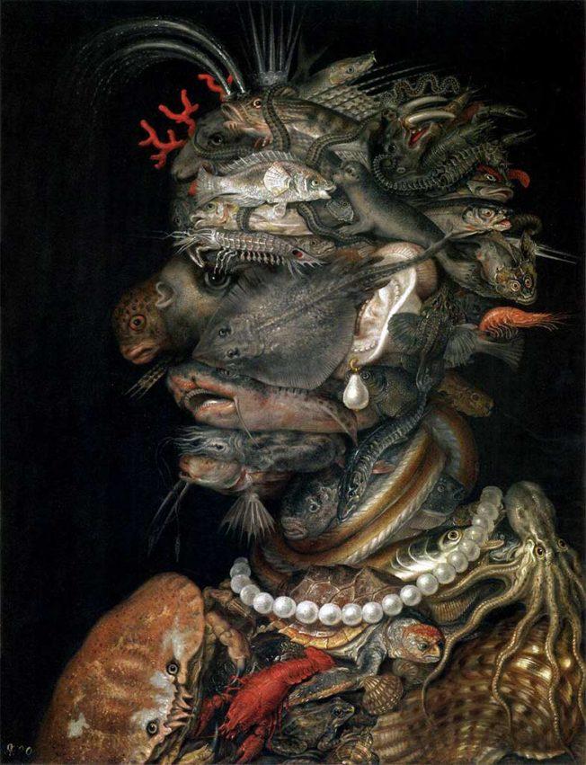 Arcimboldo. Acqua, 1566. Tecnica: Olio su tavola, 67 x 52 cm. Kunsthistorisches Museum, Vienna, Austria