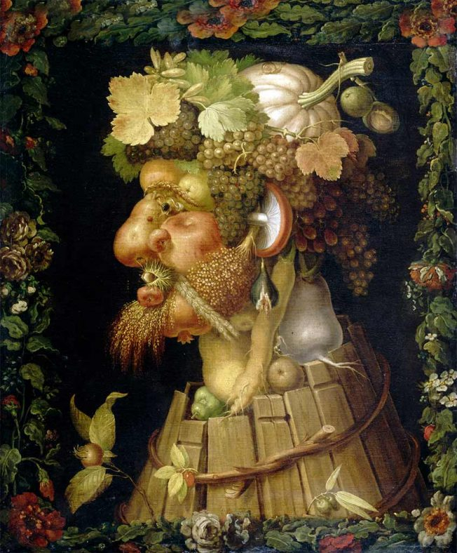 Giuseppe Arcimboldo. Tecnica: Olio su tela, 76 x 64. Museo del Louvre, Parigi