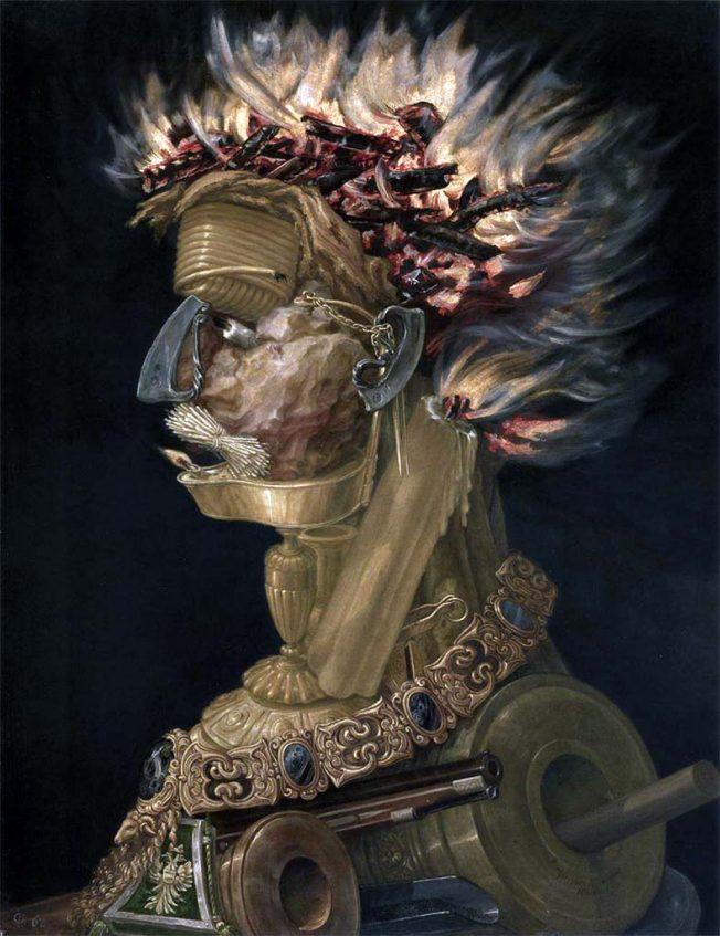 Arcimboldo. Fuoco 1566. Tecnica: Olio su legno, 67 x 51 cm. Kunsthistorisches Museum, Vienna