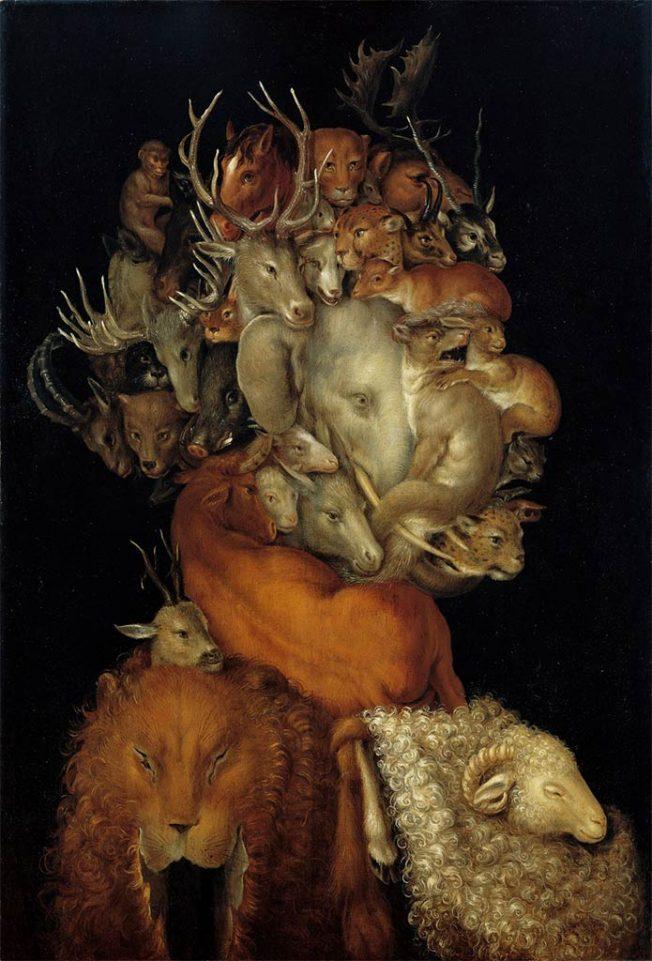 Arcimboldo. Terra, 1566. Tecnica: Olio su legno, 70 x 48.5 cm. Collezione privata