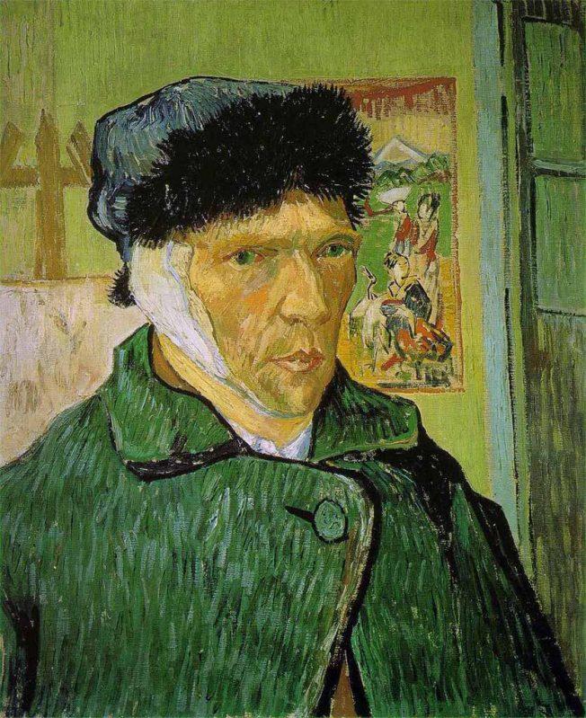 van Gogh. Autoritratto con l'Orecchio Fasciato, 1889. Tecnica: Olio su tela, 60 x 49 cm. Courtauld Gallery, Londra