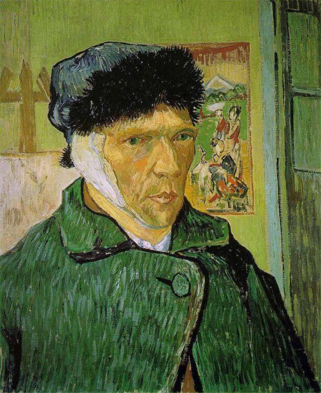Vincent van Gogh. Autoritratto con l'Orecchio Fasciato, 1889. Tecnica: Olio su tela, 60 x 49 cm. Courtauld Gallery, Londra