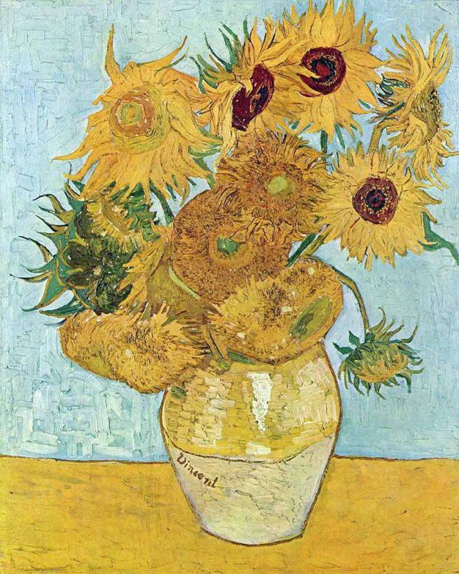 Van Gogh. Dodici Girasoli, 1888. Tecnica: Olio su tela, 91 × 72 cm. Neue Pinakothek Monaco di Baviera, Germania