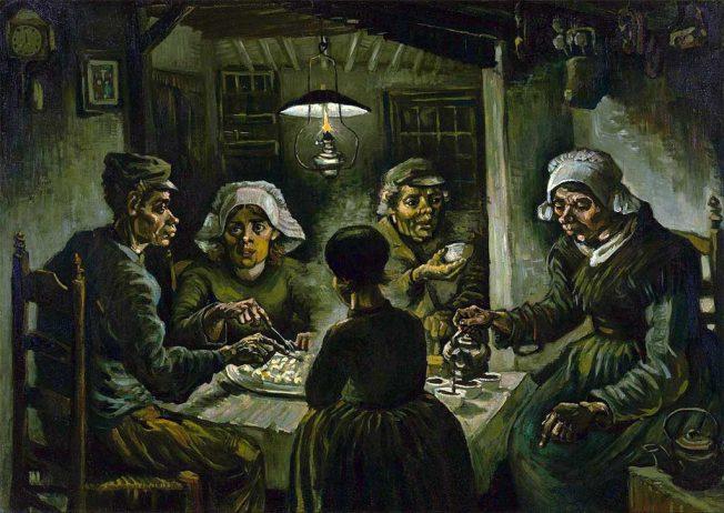 Van Gogh. Mangiatori di Patate, 1885. Tecnica: Olio su tela, 82×114 cm. Museo Van Gogh, Amsterdam