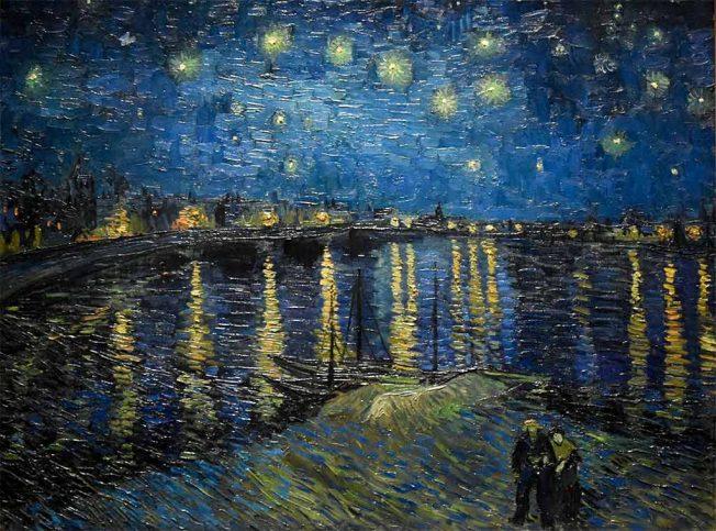 van Gogh. Notte Stellata sul Rodano, 1888. Tecnica: Olio su tela, 72 cm x 92 cm. Museo d'Orsay, Parigi