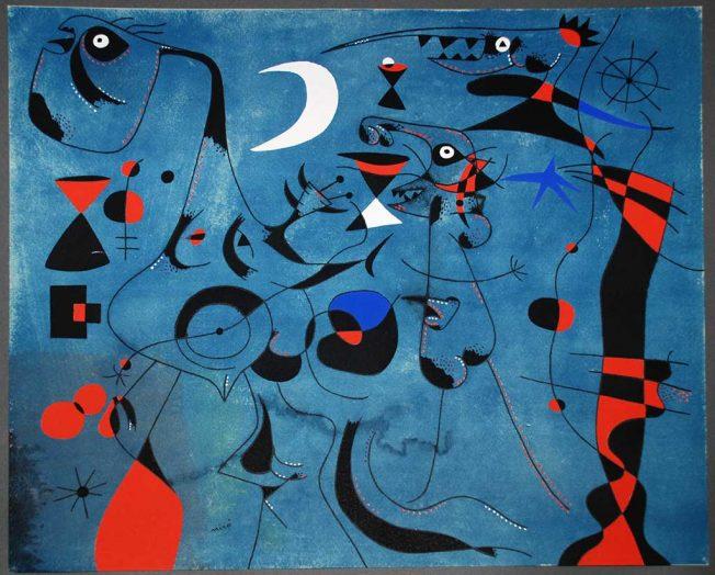Figure di Notte guidate da tracce fosforescenti di lumache, dalla serie Costellazioni, 1940. Tecnica: Acquerello e Gouache su Carta, 37,9 x 45,7 cm
